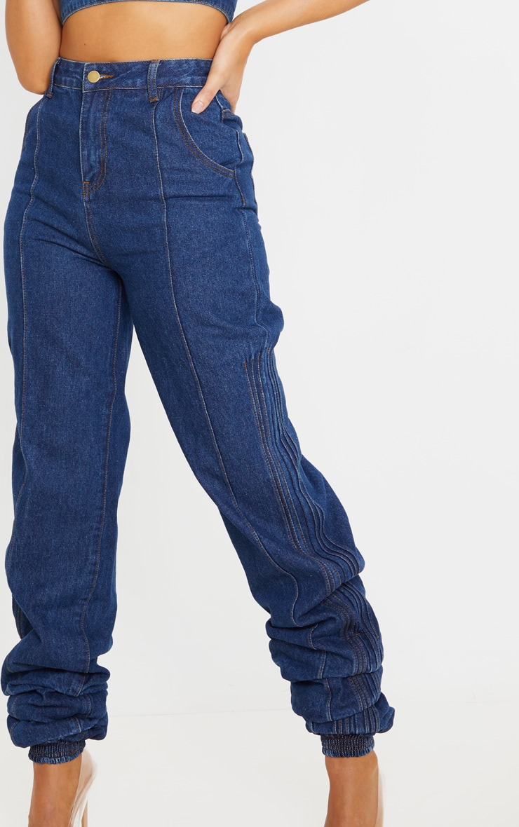 Mid Wash Denim Elasticated Hem Jeans 6