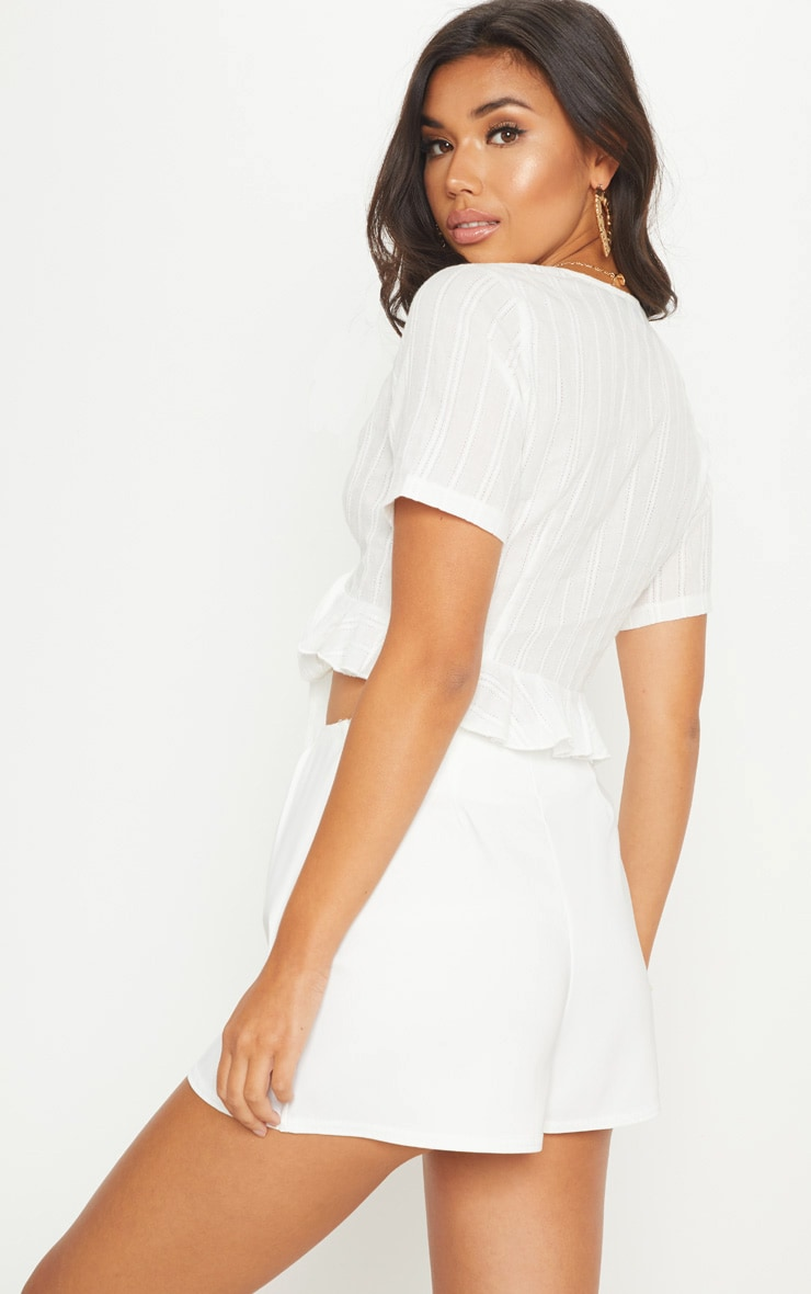 White Broderie Anglaise Tie Front Frill Hem Blouse 2