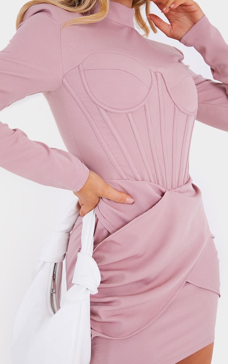 Mauve High Neck Corset Detail Wrap Skirt Bodycon Dress 4