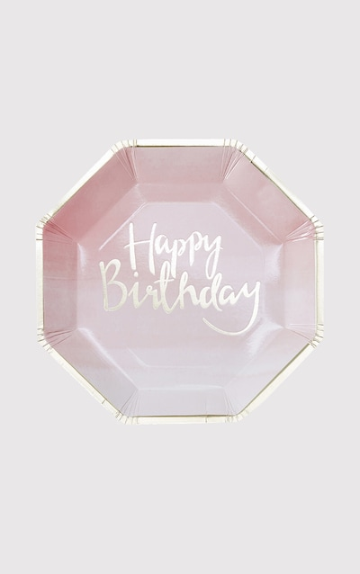 8 Pack Pink Ombre Happy Birthday Paper Plate