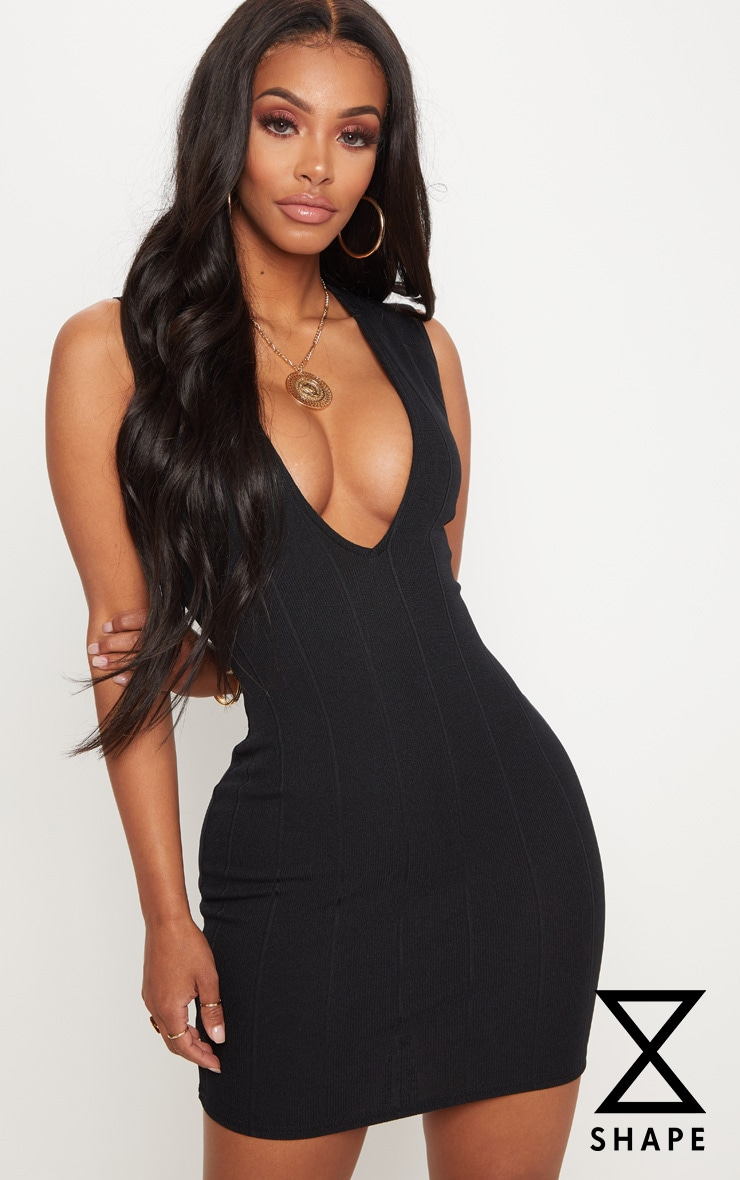 Shape Black Bandage Plunge Bodycon Dress 1