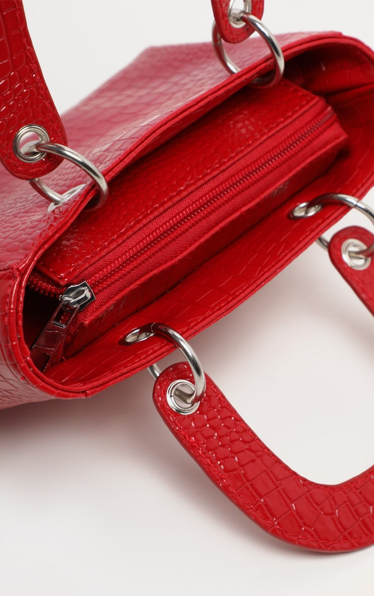 Red Patent Croc Ring Detail Mini Handbag 5