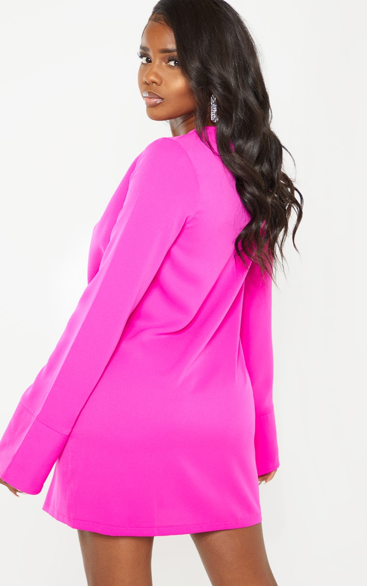 Petite Fuchsia Plunge Flare Sleeve Blazer Dress 2