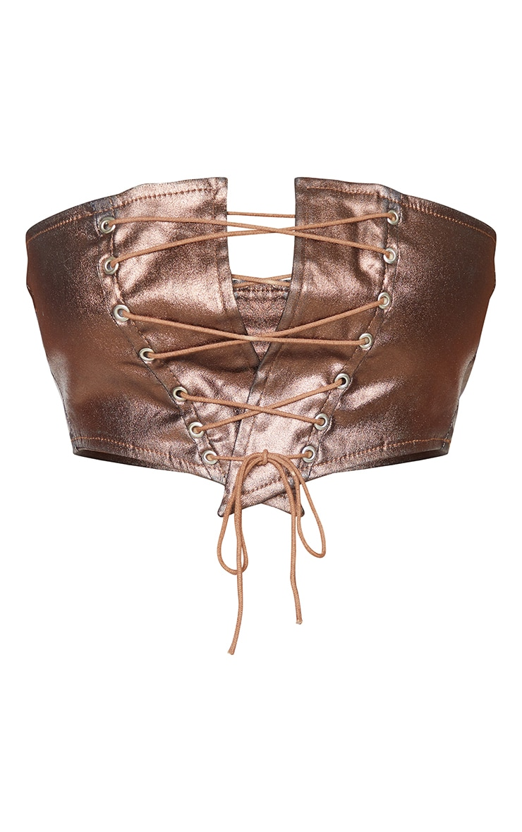 Shape Chocolate Brown Metallic Coated Denim Lace Up Crop Top 5