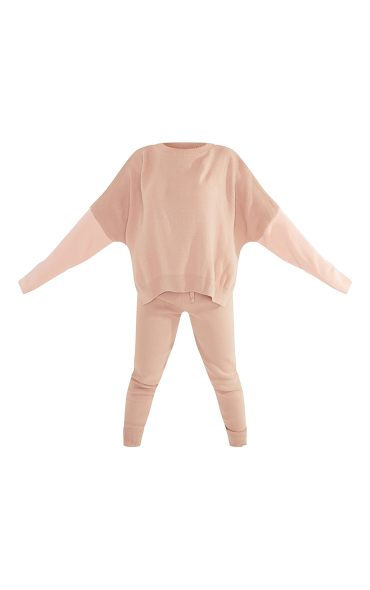 Petite Camel Color Block Knitted Loungewear Set 5