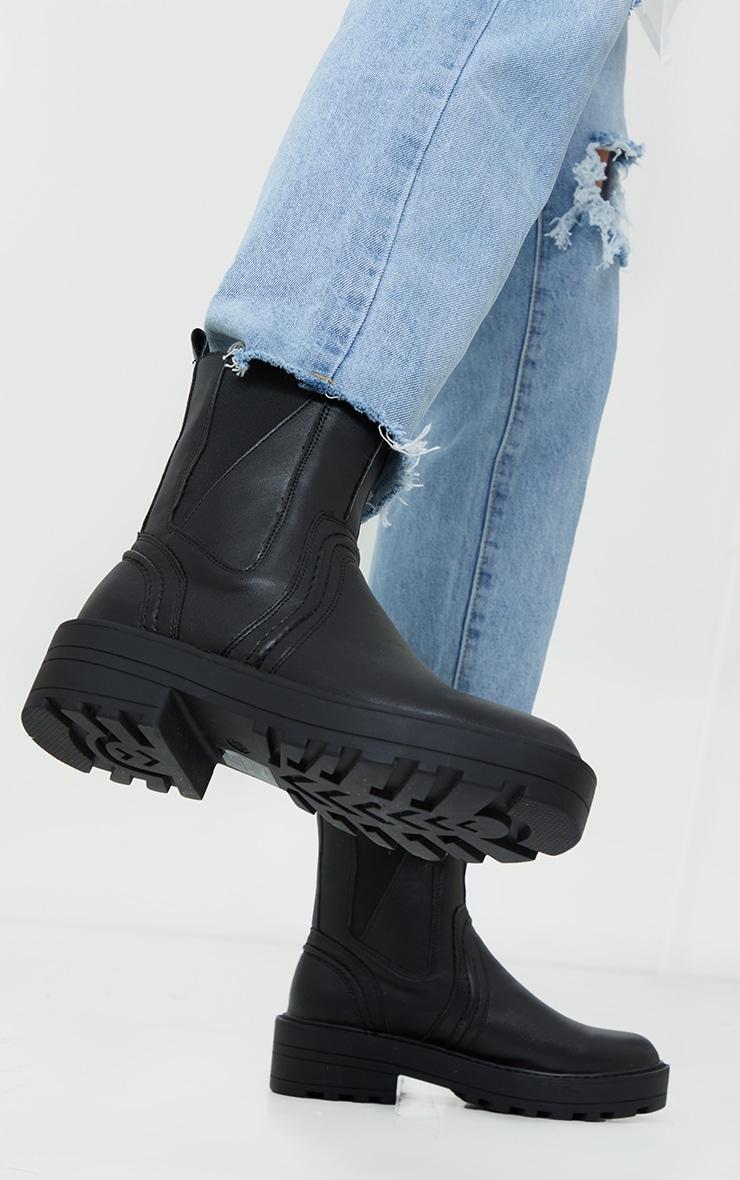 Black Matte PU Chunky Sole Asymmetric Panel Chunky Ankle Boot 2