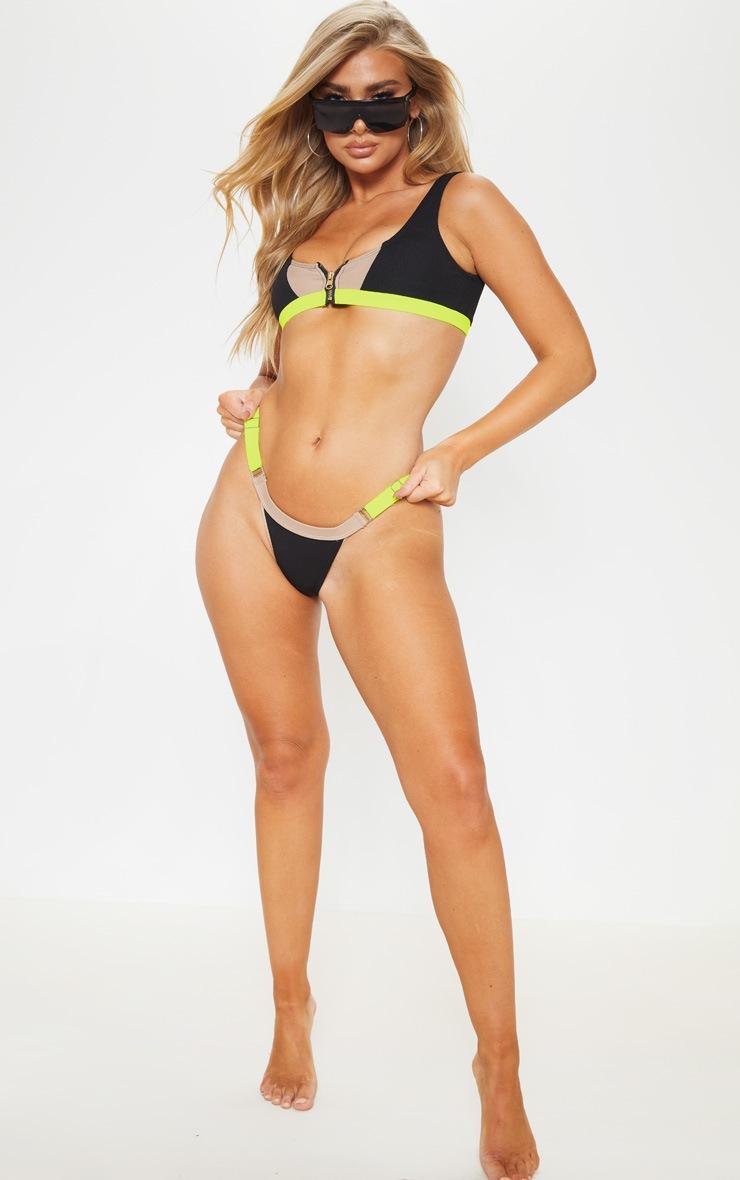 Lime Ribbed Contrast Adjustable Bikini Bottom 4