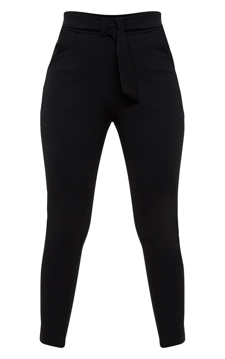 Petite Black Bow Waist Detail Crepe Pants 3