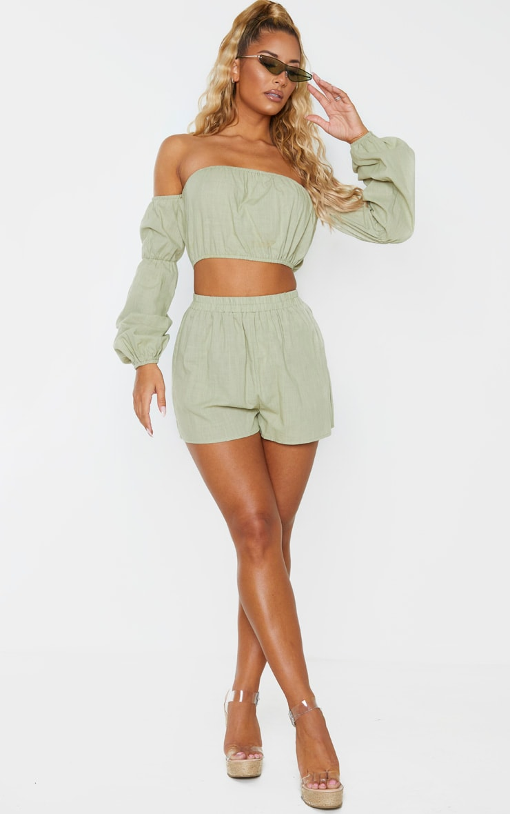 Pale Khaki Linen Look Bardot Puff Sleeve Beach Top 4