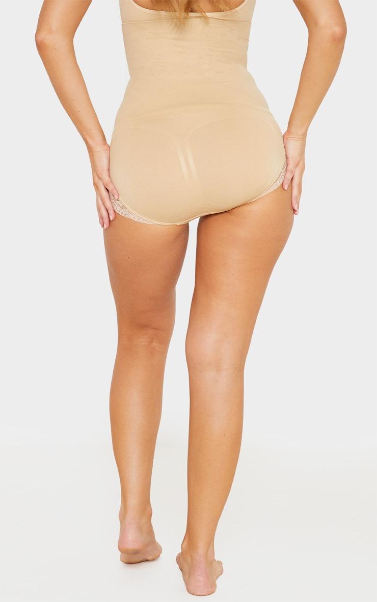 Nude High Waisted Shapewear Lace Trim Briefs 3