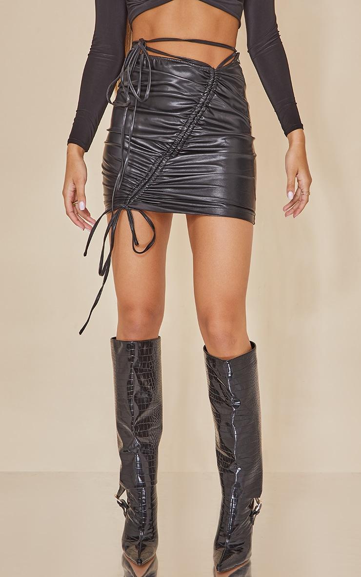 Black Faux Leather Ruched Asymmetric Tie Waist Mini Skirt 2