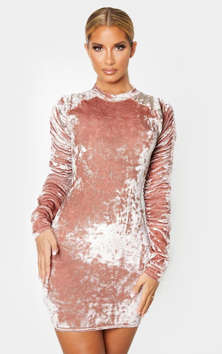 Blush Velvet Ruched Sleeve High Neck Bodycon Dress 1