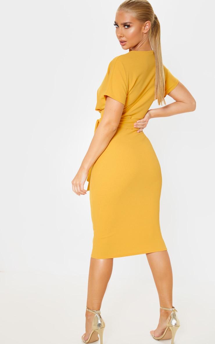 Mustard Short Sleeve Tie Waist Midi Dress 2