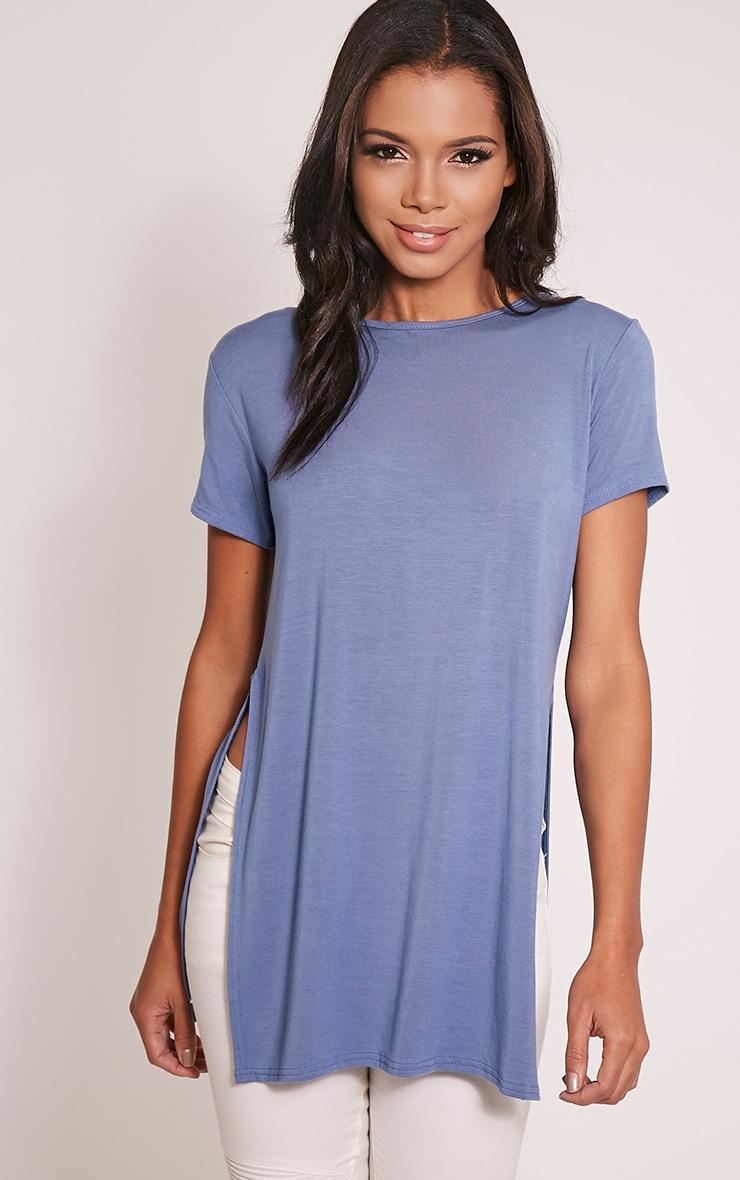 Basic Petrol Blue Side Split T-Shirt 1