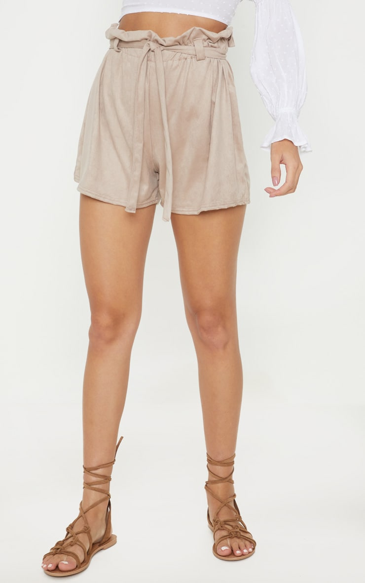 Cream Faux Suede Tie Waist Short  2