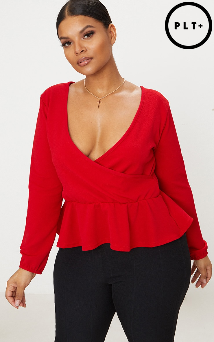 Plus Red Plunge Frill Hem Top 1