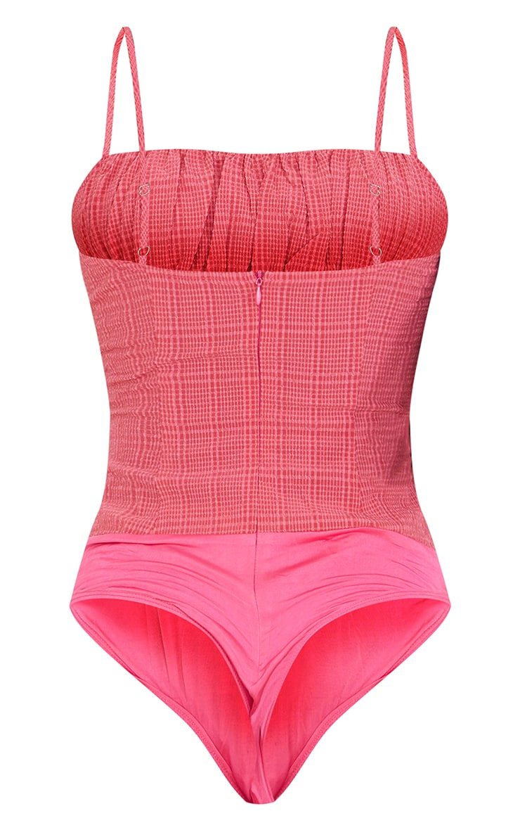 Tall Neon Pink Ruched Strappy Bodysuit 6