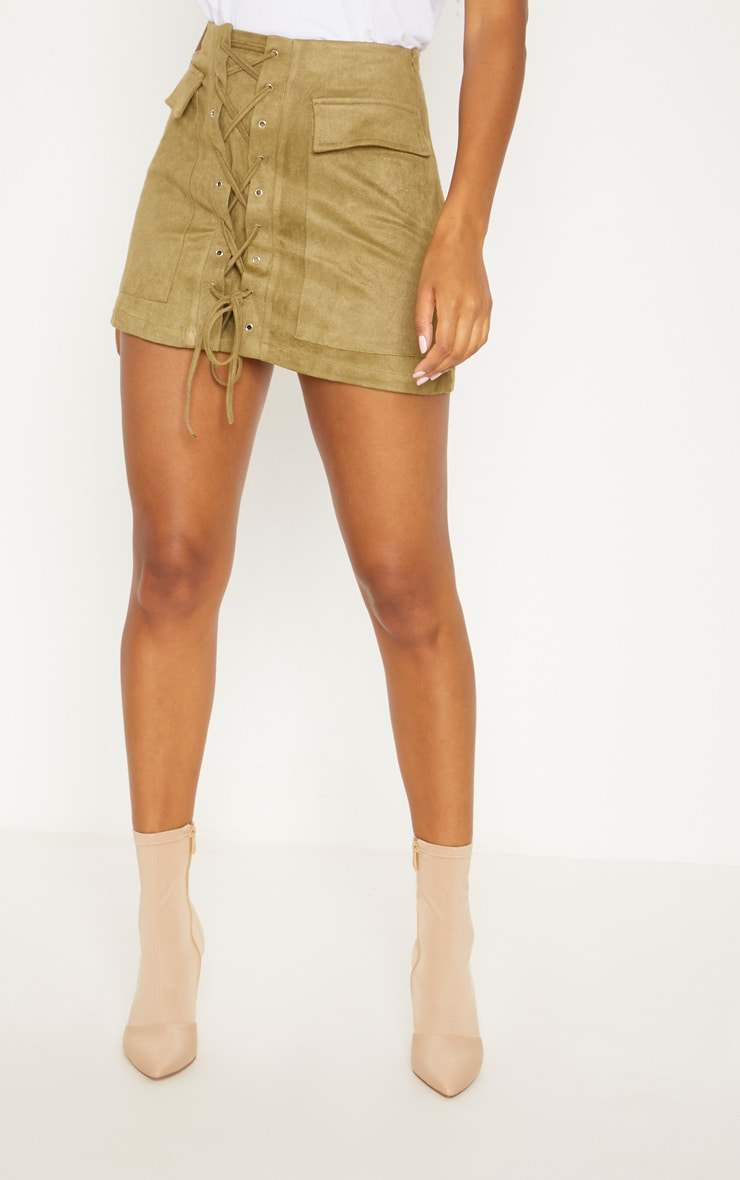 Khaki Faux Suede Lace Up Mini Skirt 2