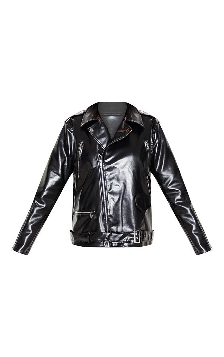 Black Oversized PU Biker Jacket 3