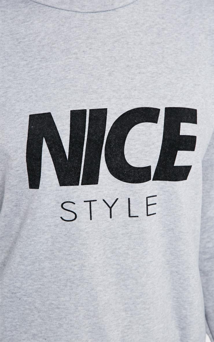 Lari Grey Nice Slogan Sweater  4