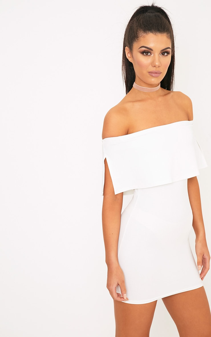 Carley White Bardot Frill Bodycon Dress 1