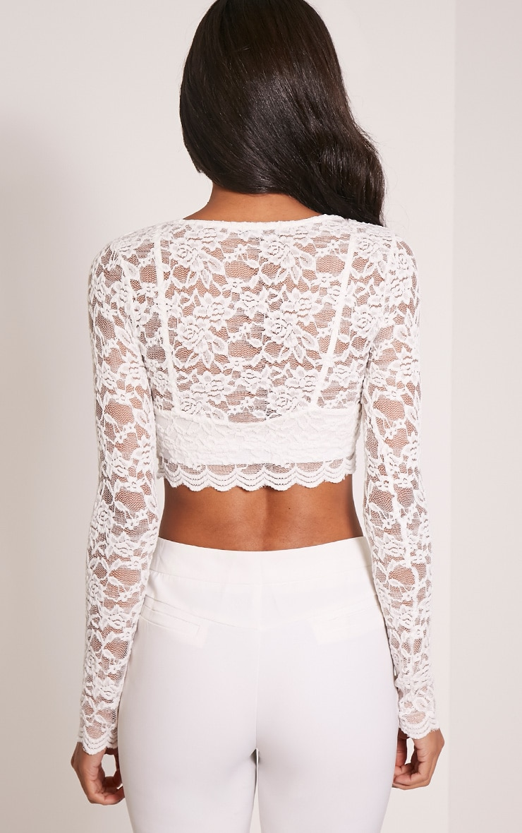 Cream Lace Long Sleeve Crop Top Pretty Little Thing XqtQ2eF