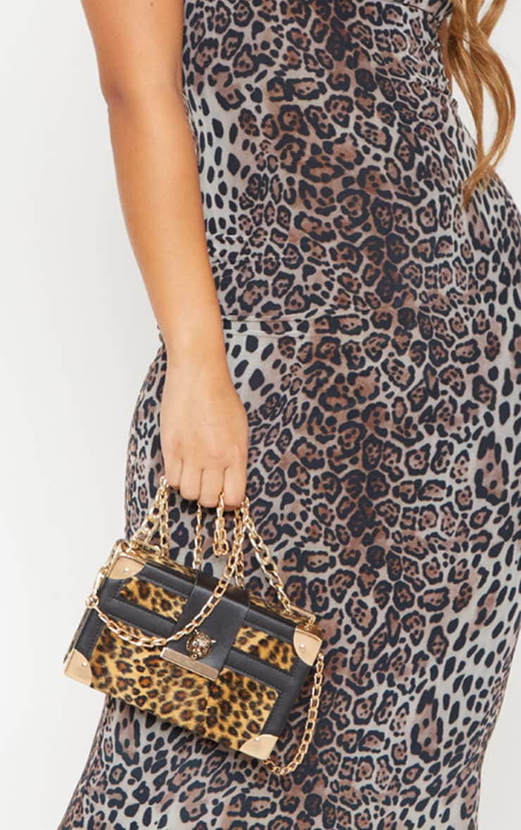 Gold Leopard Hard Satchel  With Panther Studs Cross Body Bag 2