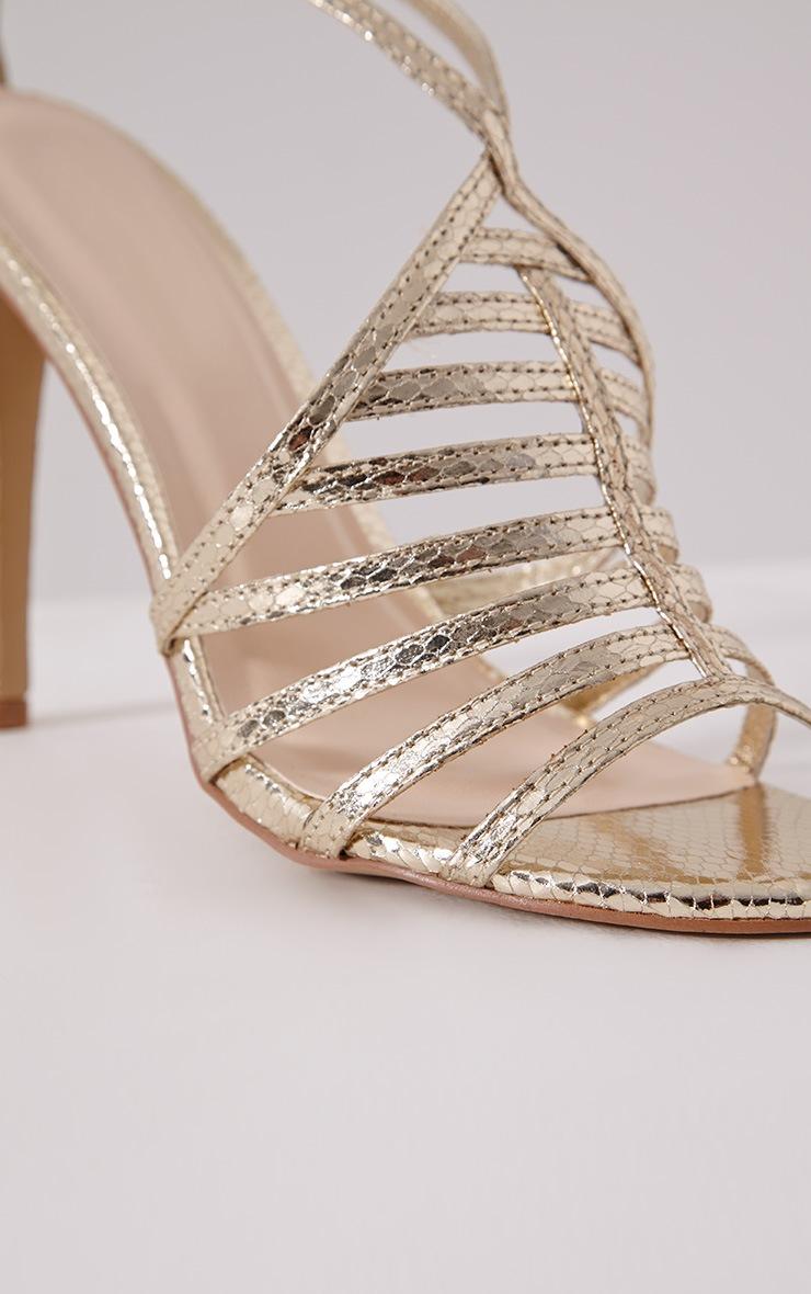 Pamela Gold Strappy Heeled Sandals 5