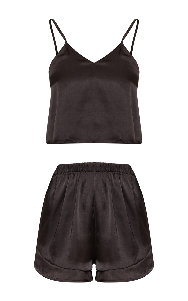 Black Satin Frill Short Pyjama Set 3