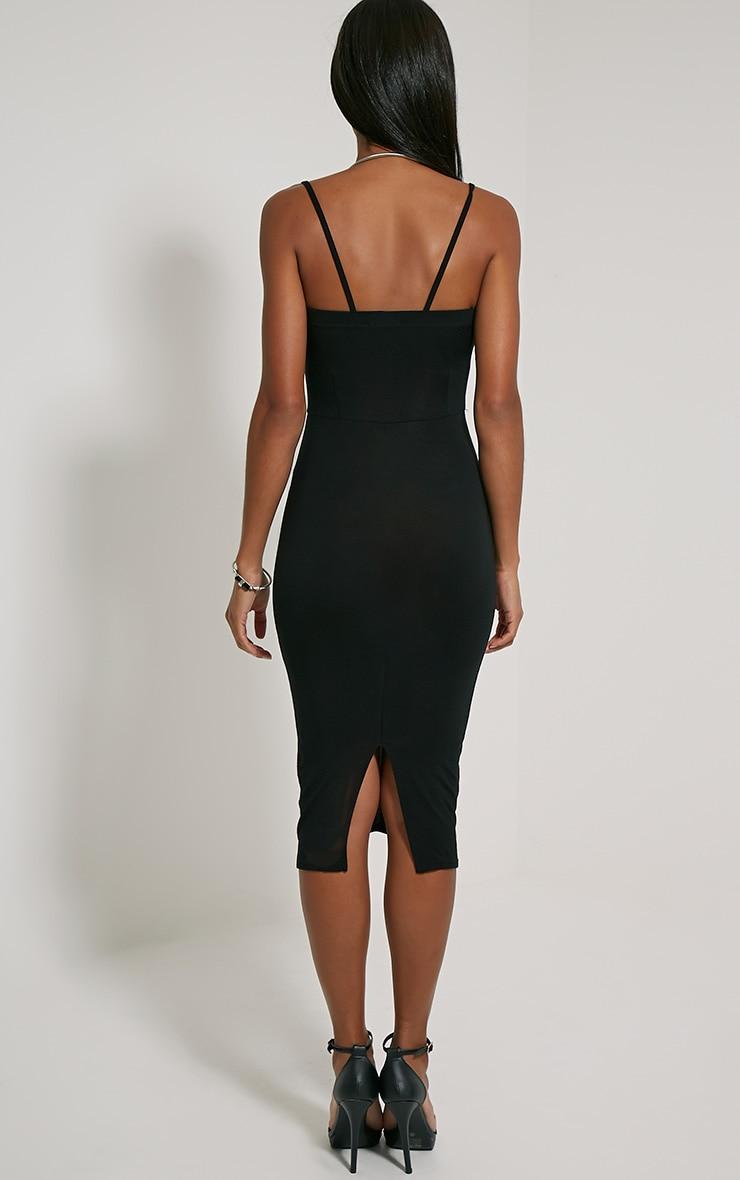 Rommie Black Lace Up Midi Dress 2