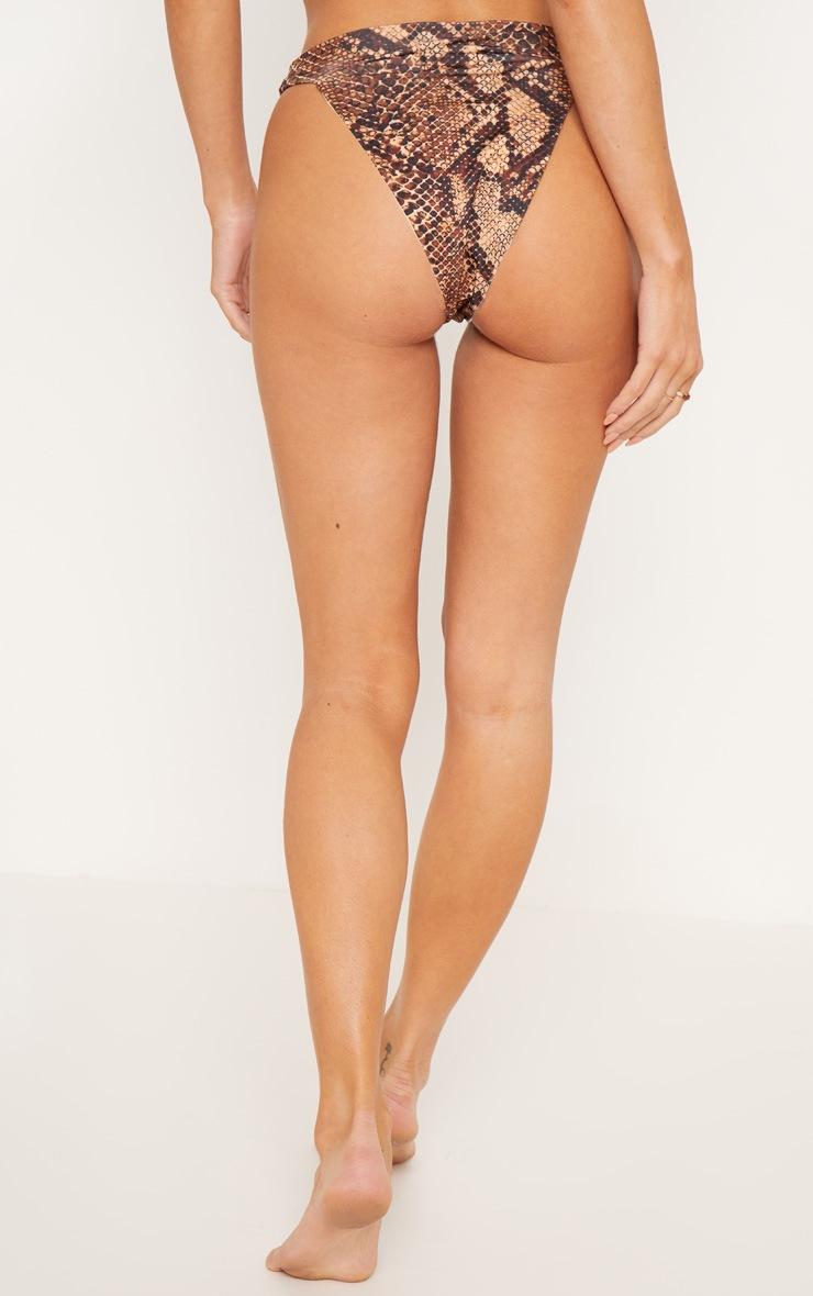Bas de bikini échancré imprimé serpent marron 4