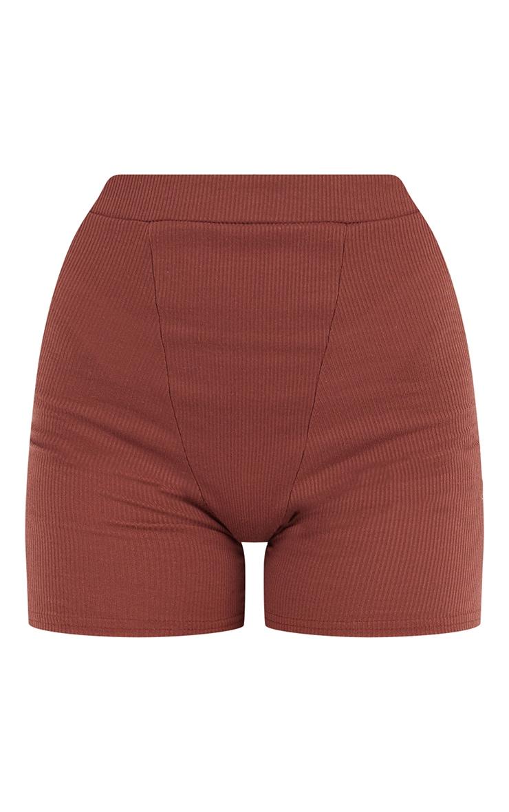 Chocolate Brown Ribbed Cycle Shorts 6