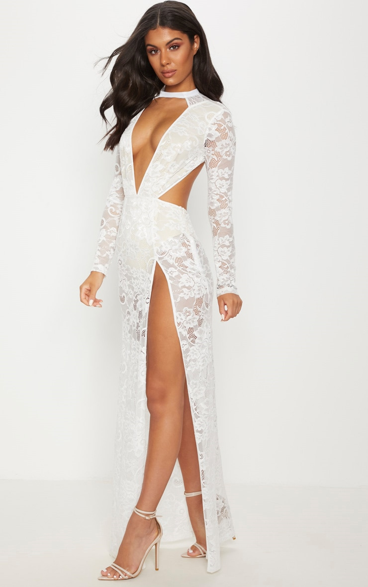 White Lace Plunge Backless Maxi Dress 4