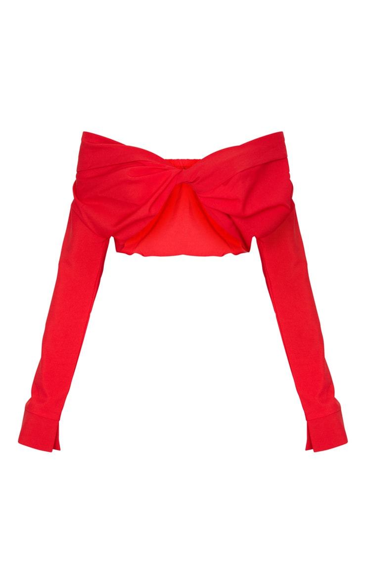Red Twist Front Bardot Blouse 6
