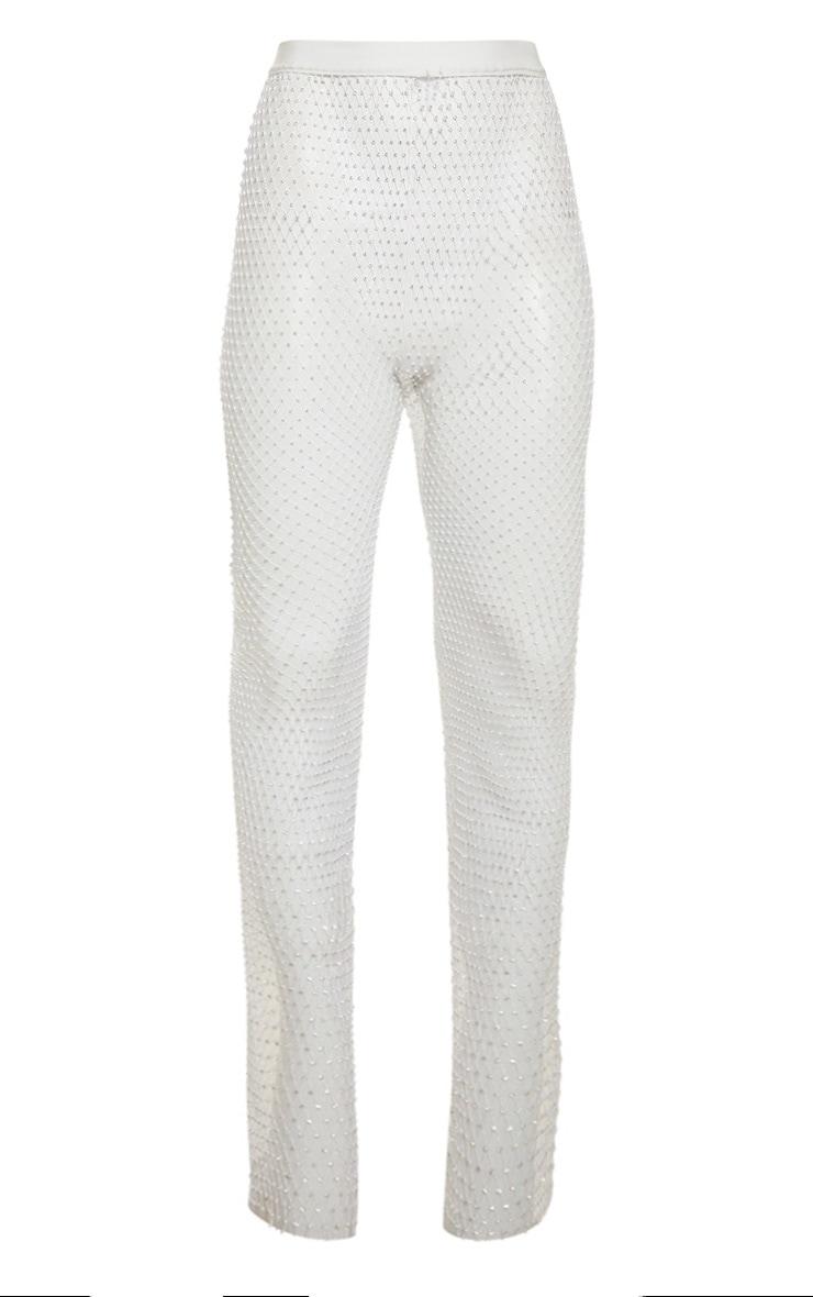 White Mesh Diamante Wide Leg Trouser 3