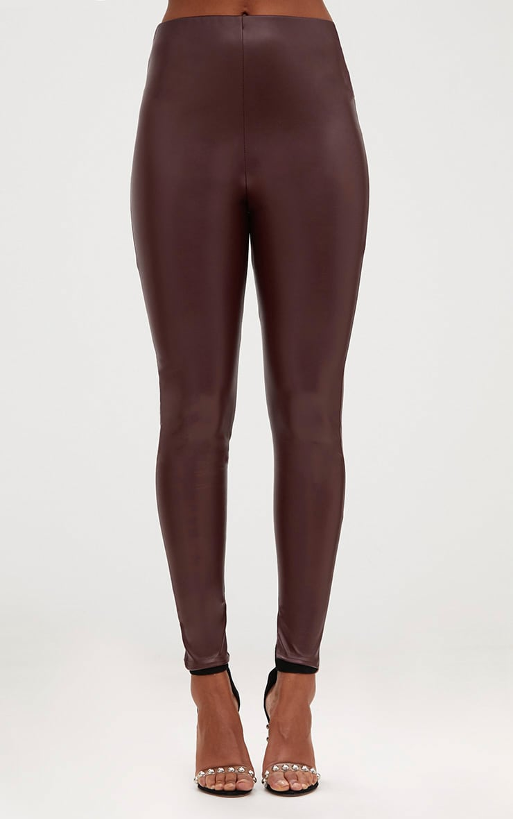 Burgundy Faux Leather Skinny Trousers 2