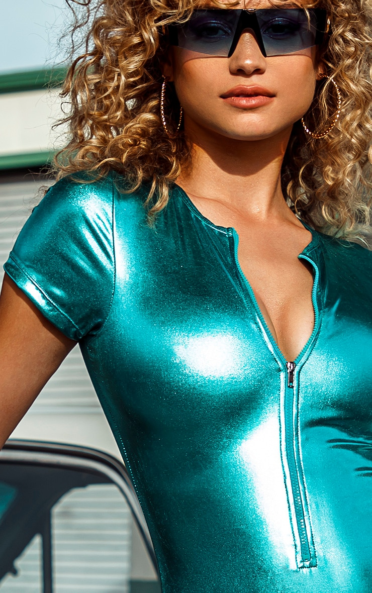 Turquoise Metallic Zip Up T Shirt Swimsuit 5