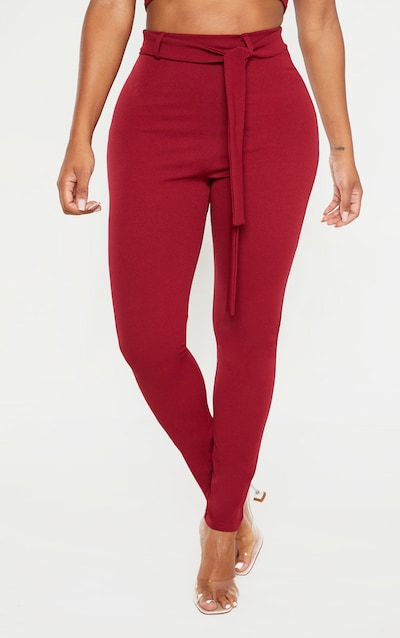 Shape Burgundy Belted Tapered Trousers