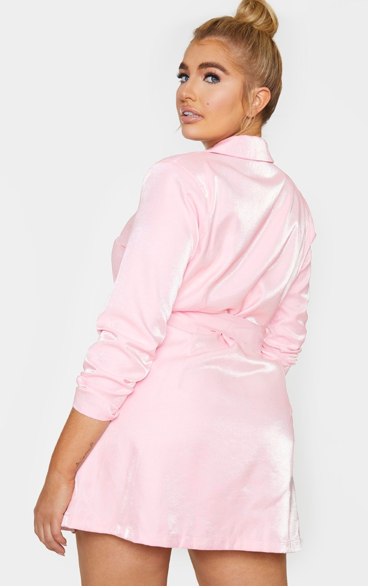 Plus Blush Shimmer Satin Tie Waist Blazer Dress 2