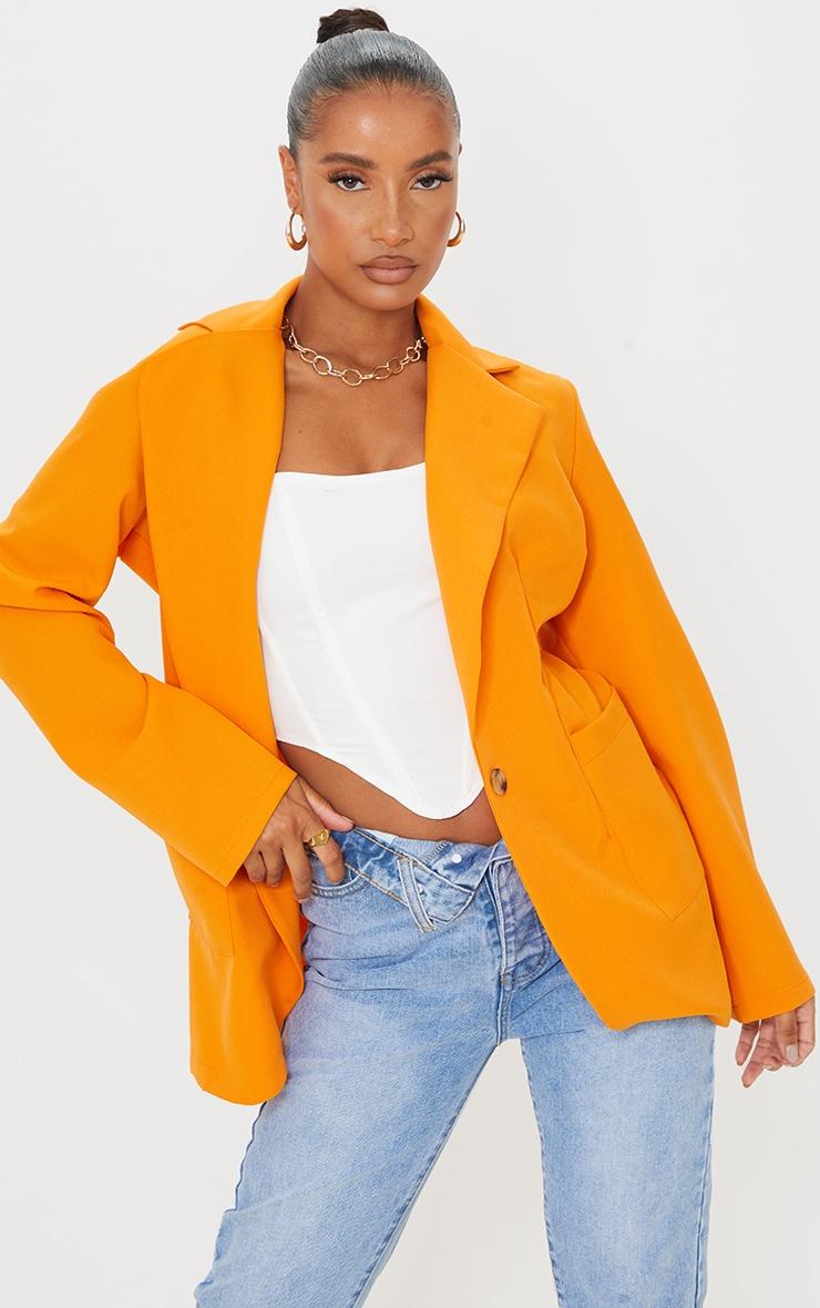 Orange Woven Single Breasted Oversized Blazer 1