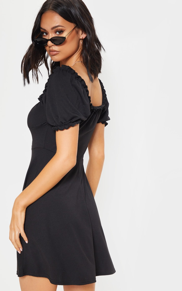 Black Ruched Cup Frill Sleeve Skater Dress 2