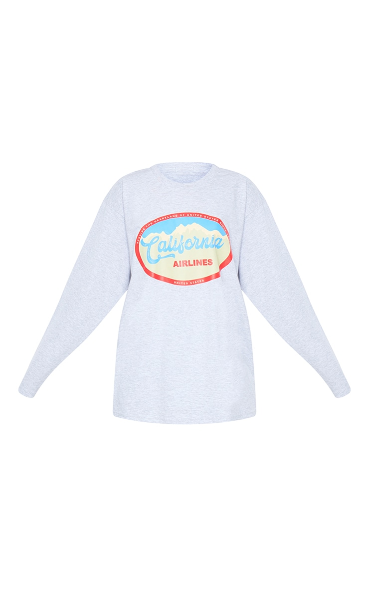 Grey California Airlines Printed Long Sleeve T Shirt 5