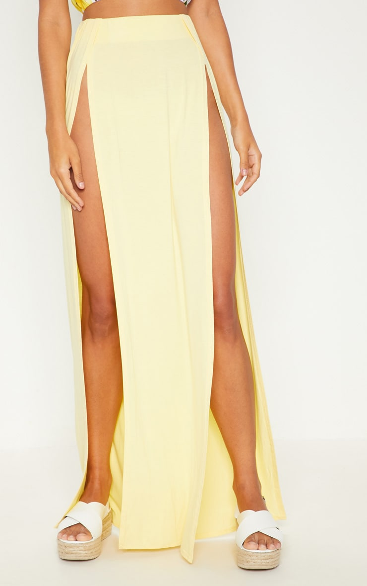 Lemon Double Split Maxi Skirt 2