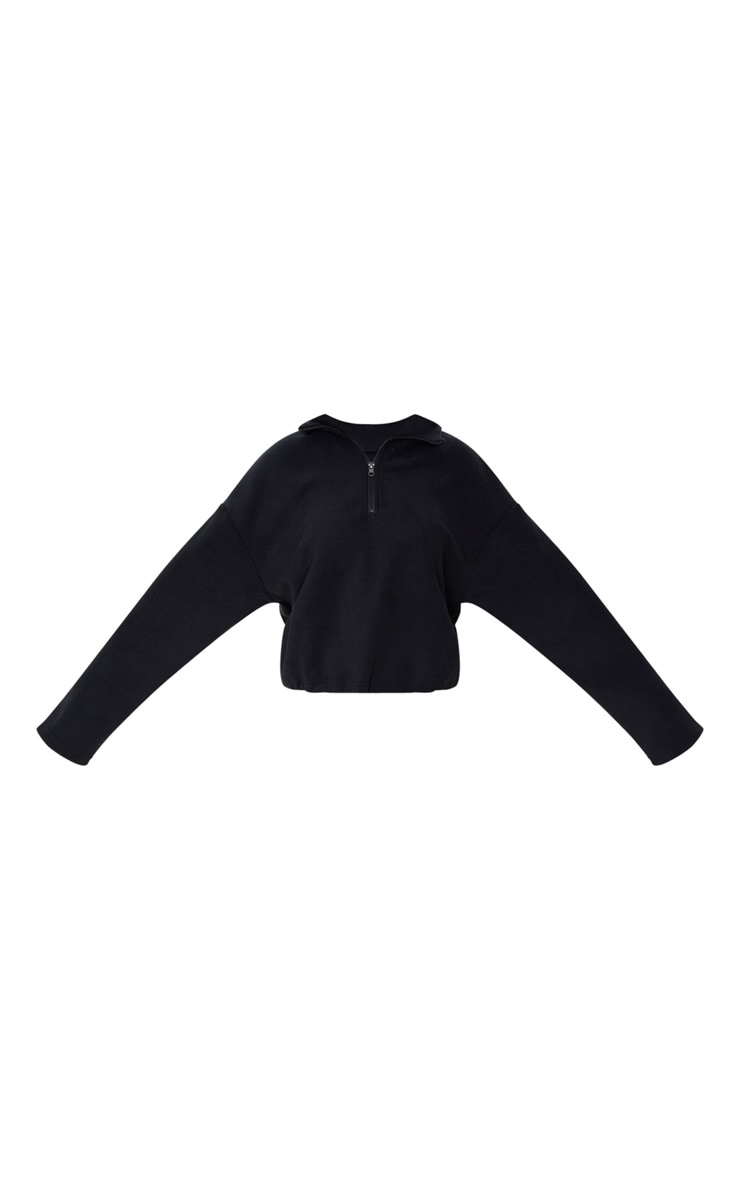 Black Zip Front Crop Fleece Sweater 3