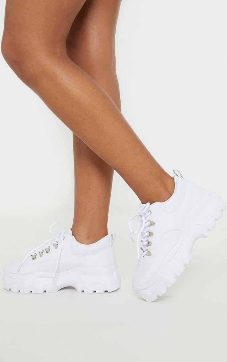 White Flatform Chunky Hiker Sneakers 1