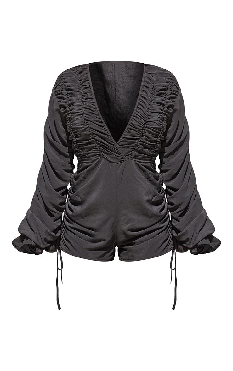 Black Ruched Detail Long Sleeve Romper 5