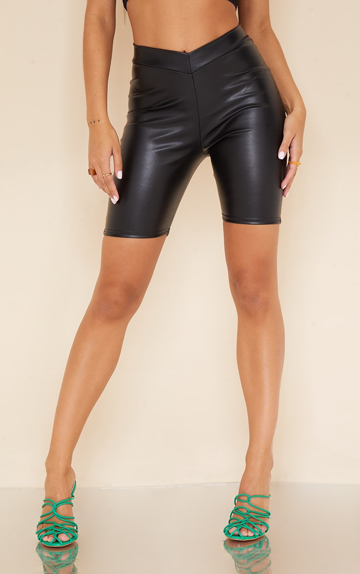 Black Faux Leather V Front Cycle Shorts 2