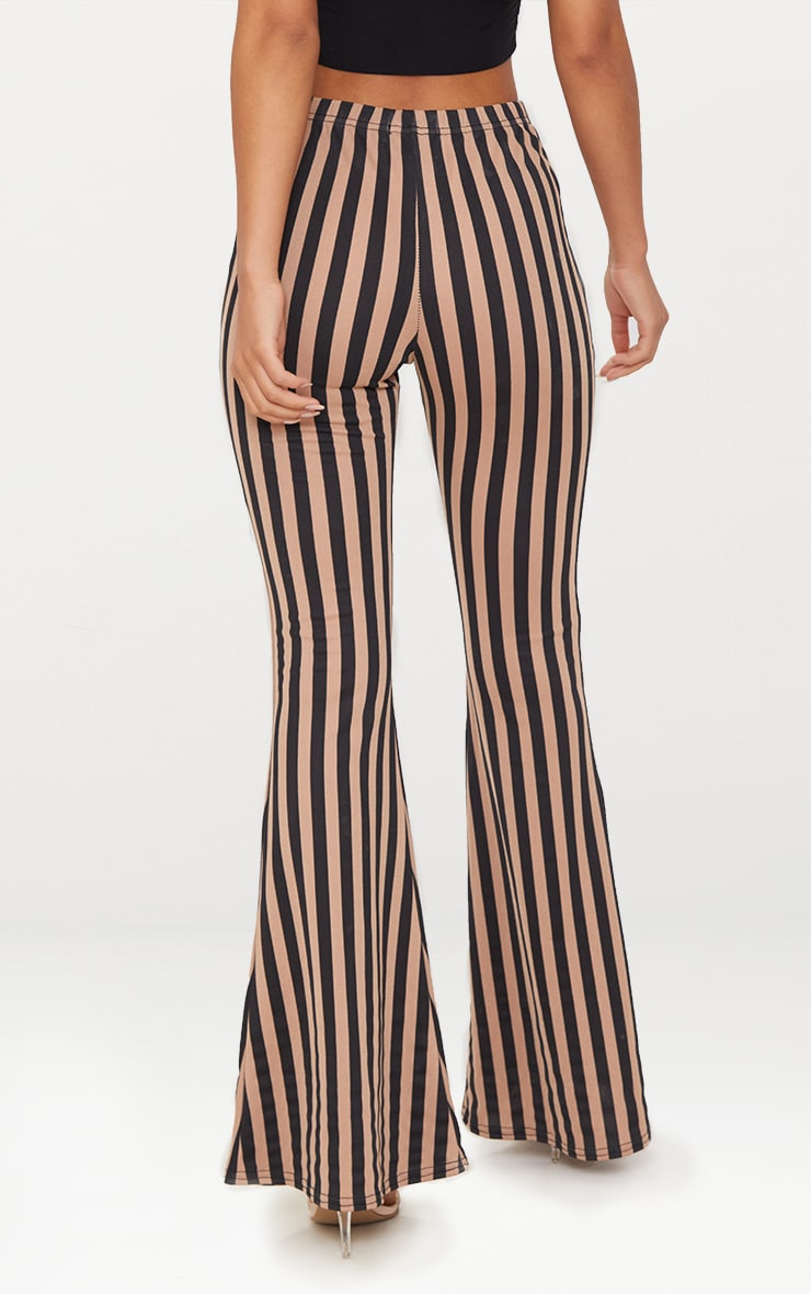 Taupe Humbug Stripe Flared Trousers 4