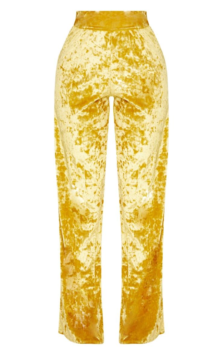 Shape Mustard Crushed Velvet Extreme Wide Leg Trousers 3