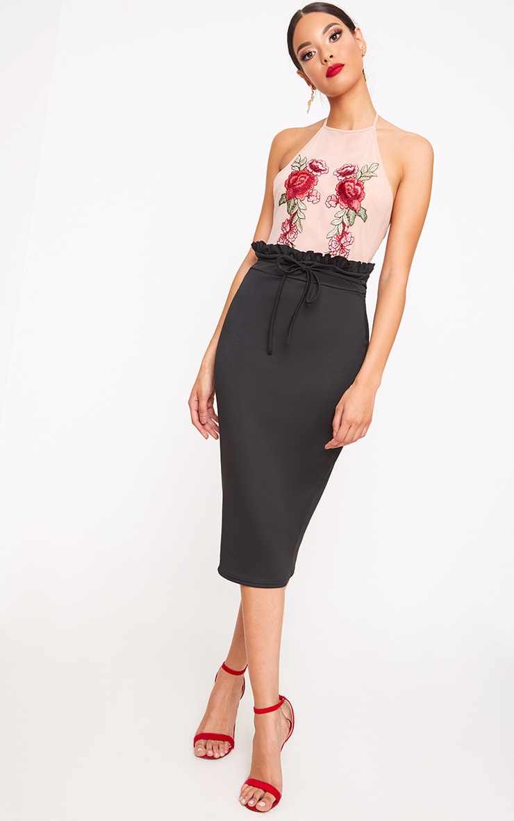 a12722d57 Black Paperbag Waist Midi Skirt | PrettyLittleThing AUS